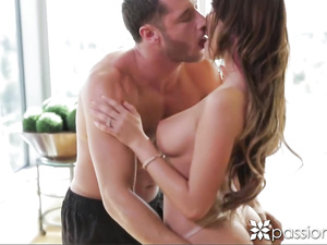 Busty August Ames feetjob, stroking and cock fuck