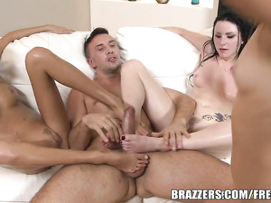 Three beautiful bisexual girlfriends are fucking hard with one guy