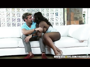 Juicy black babe is pleasuring awesome hardcore interracial fuck