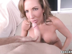 Brown haired luxurious milf is having hardcore fuck on balcony