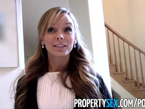 Luxurious blonde real estate agent passionately fucks her rich client