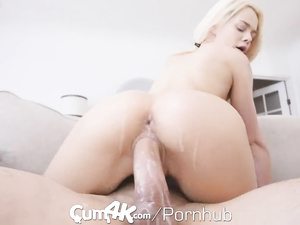 Burning hot young blonde girl sucks and rides big hard dick