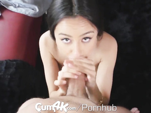 Young and sexy brunette does tight blowjob before having wild hardcore fuck