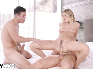 Slutty blonde invites her boyfriend to have a threesome fuck with her husband