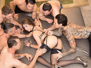 Wonderful young babe Riley Reid got pleased with rough gangbang anal fuck